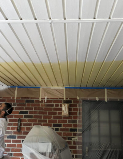 Priming and painting an old, dirty ceiling in Roxborough