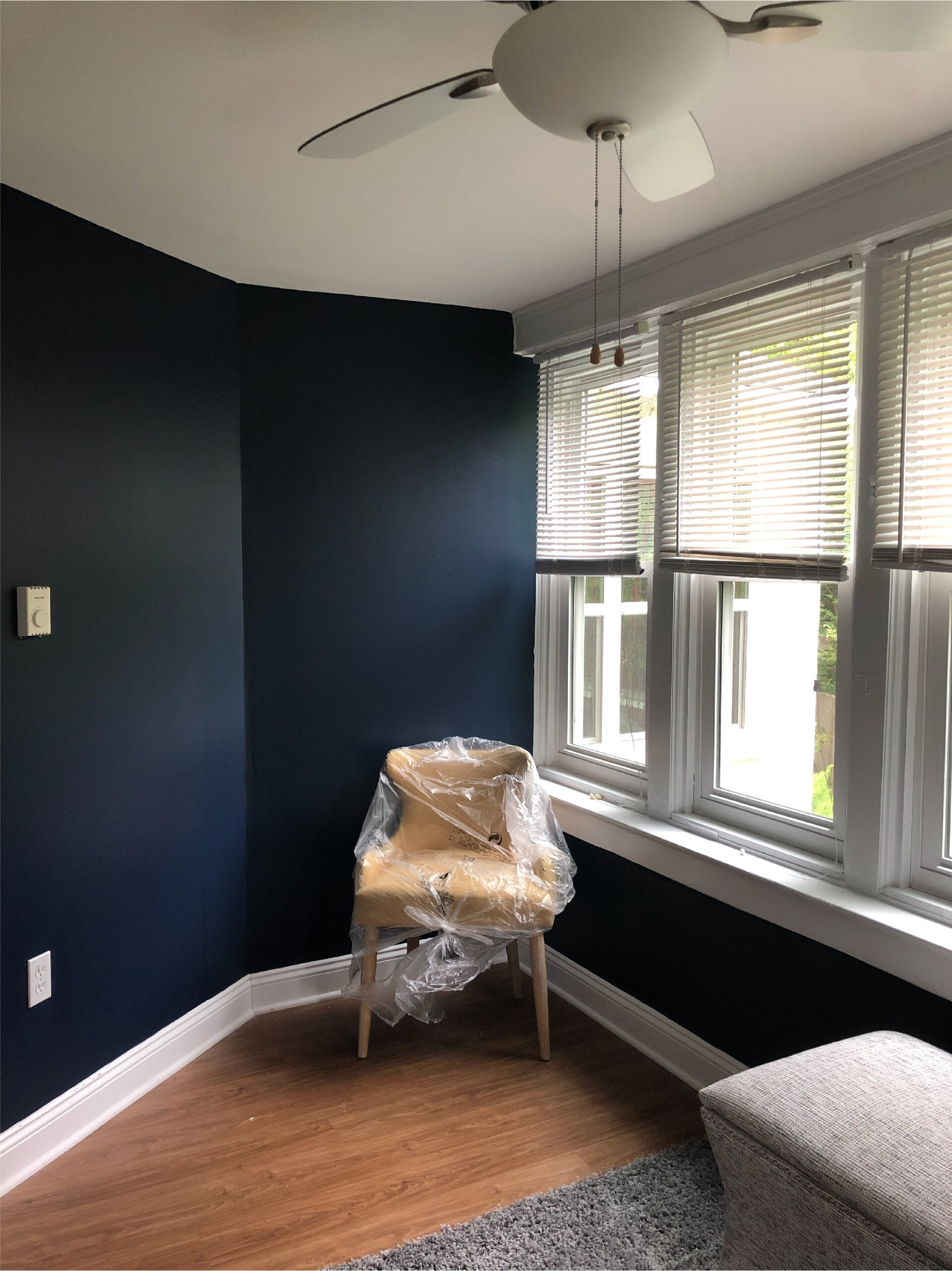 Painted then staged this new apartment for a repeat client in Swarthmore