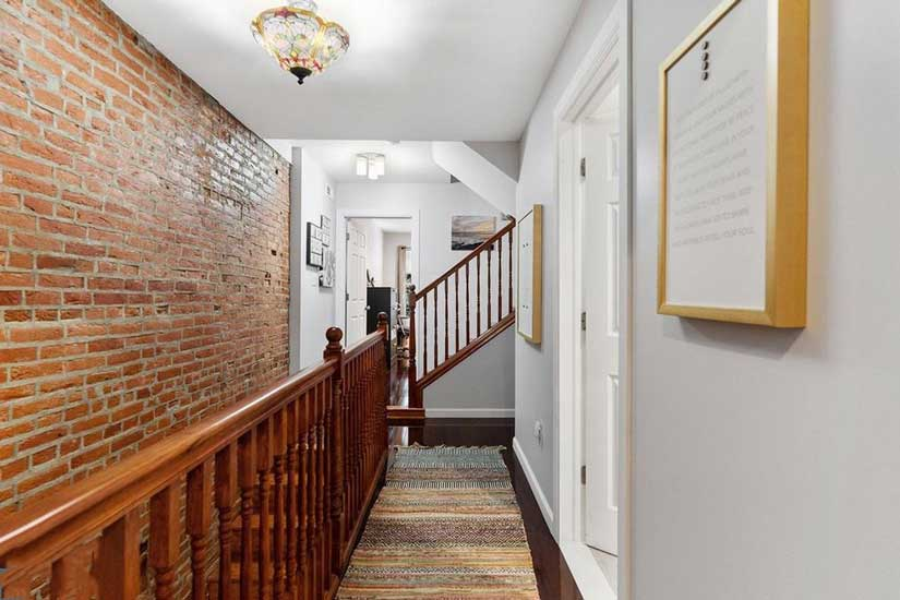 Painted interior walls in a Philadelphia row home