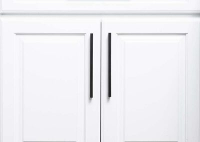 White refinished cabinets